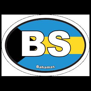 Bahamas Bs Flag Oval Sticker