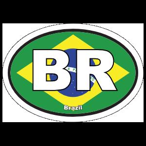 Brazil Br Flag Oval Sticker
