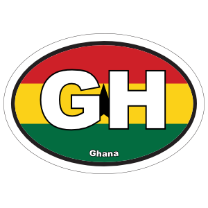 Ghana Gh Flag Oval Sticker