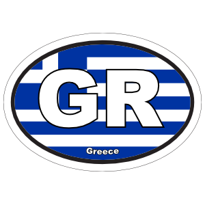 Greece Gr Flag Oval Sticker