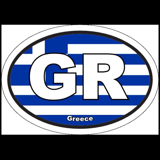 Greece Gr Flag Oval Sticker