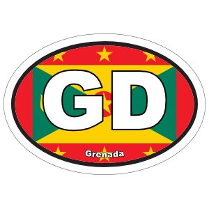 Grenada Gd Flag Oval Sticker