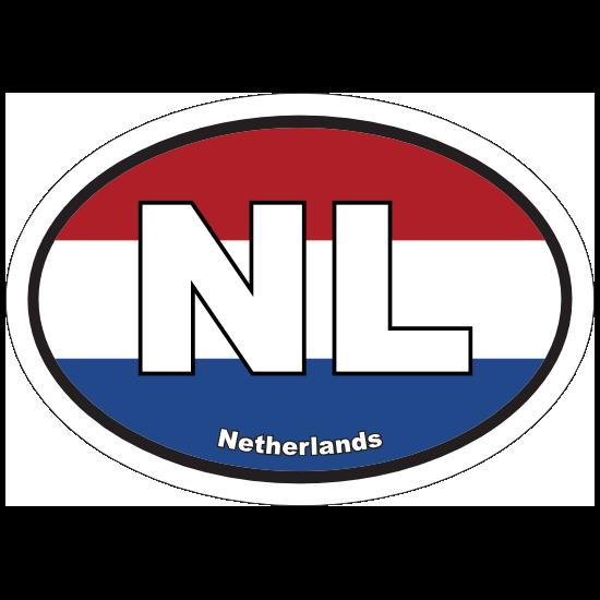 Netherlands Nl Flag Oval Sticker