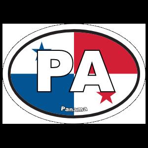Panama Pa Flag Oval Sticker