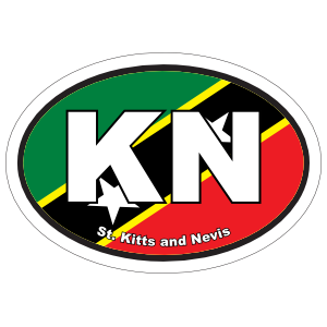 St. Kitts And Nevis Kn Flag Oval Magnet