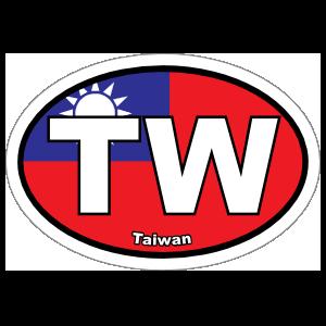 Taiwan Tw Flag Oval Sticker