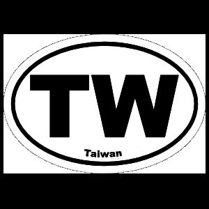 Taiwan Tw  Oval Sticker
