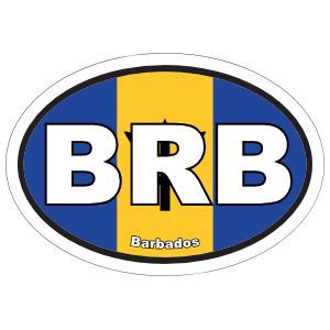 Barbados Brb Flag Oval Sticker