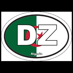 Algeria Dz Flag Oval Sticker