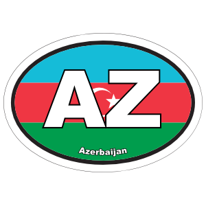 Azerbaijan Az Flag Oval Sticker