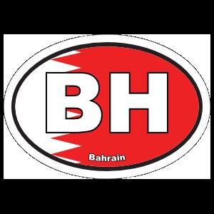 Bahrain Bh Flag Oval Sticker