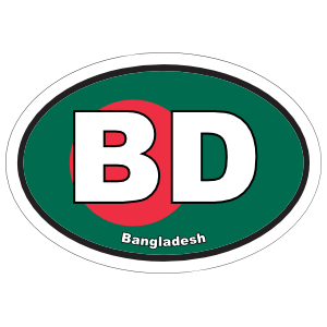 Bangladesh Bd Flag Oval Sticker