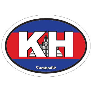 Cambodia Kh Flag Oval Sticker