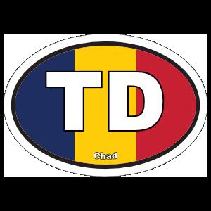 Chad Td Flag Oval Magnet