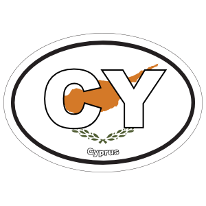 Cyprus Cy Flag Oval Magnet