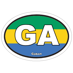 Gabon Ga Flag Oval Sticker
