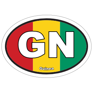Guinea Gn Flag Oval Sticker