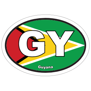 Guyana Gy Flag Oval Sticker