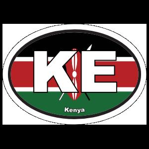 Kenya Ke Flag Oval Magnet