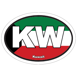 Kuwait Kw Flag Oval Magnet