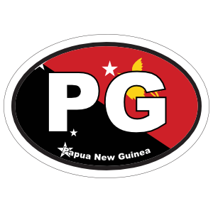Papua New Guinea Pg Flag Oval Magnet