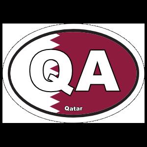 Qatar Qa Flag Oval Sticker
