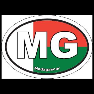 Madagascar Mg Flag Oval Sticker