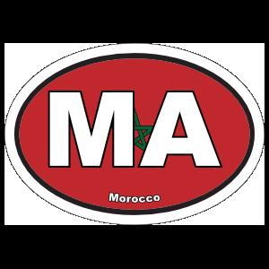 Morocco Ma Flag Oval Sticker