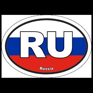 Russia Ru Flag Oval Sticker