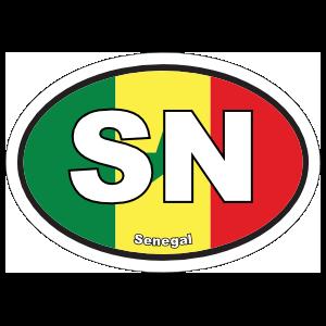 Senegal Sn Flag Oval Magnet