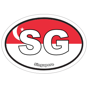 Singapore Sg Flag Oval Magnet