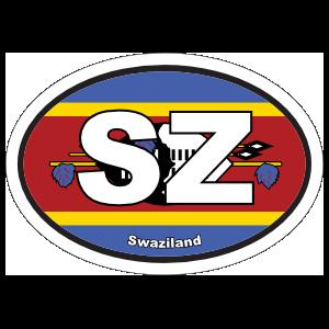 Swaziland Sz Flag Oval Sticker