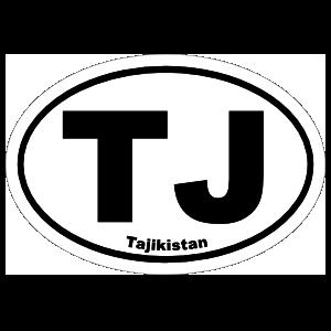 Tajikistan Tj Oval Sticker