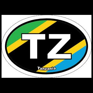 Tanzania Tz Flag Oval Sticker