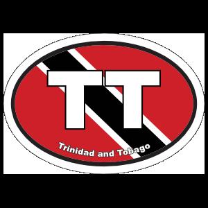 Trinidad & Tobago Tt Flag Oval Sticker