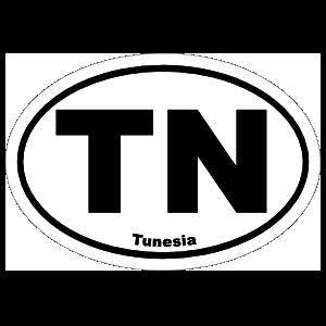 Tunesia Tn Oval Sticker
