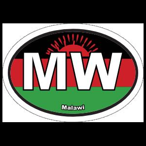 Malawi Mw Flag Oval Sticker