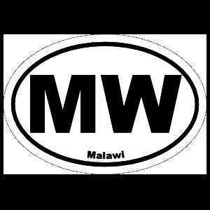 Malawi Mw Oval Sticker