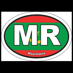 Mauritania Mr Flag Oval Sticker