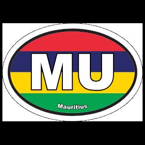 Mauritius Mu Flag Oval Sticker