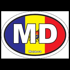 Moldova Md Flag Oval Sticker