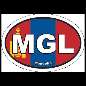 Mongolia Mgl Flag Oval Sticker