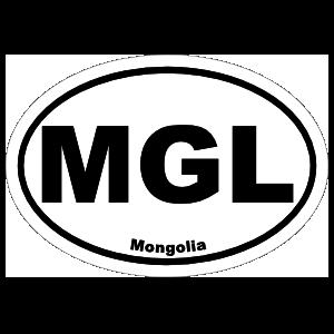 Mongolia Mgl Oval Sticker
