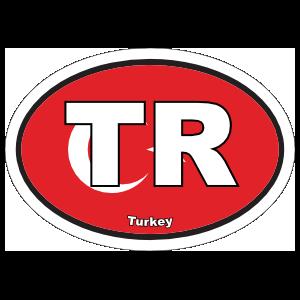 Turkey Tr Flag Oval Sticker