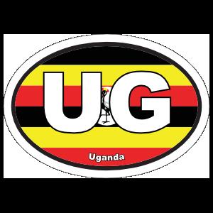 Uganda Ug Flag Oval Sticker