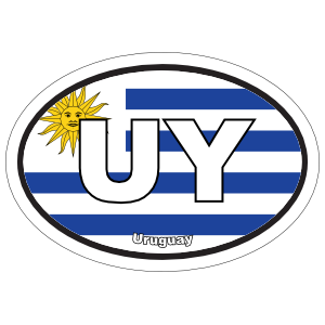 Uruguay Uy Flag Oval Magnet
