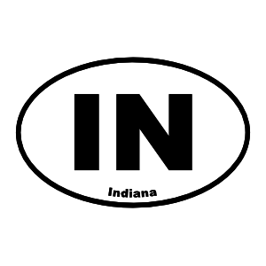 Indiana In Oval Sticker