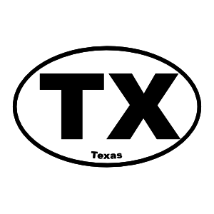 Texas Tx Oval Sticker