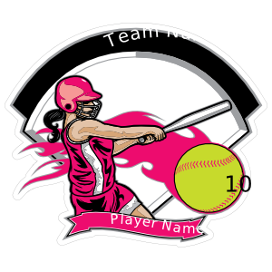Girl Baseball Softball Player Pink Sticker