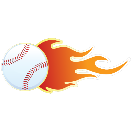 Baseball With Flames Magnet